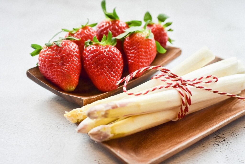 strawberries, white asparagus, food